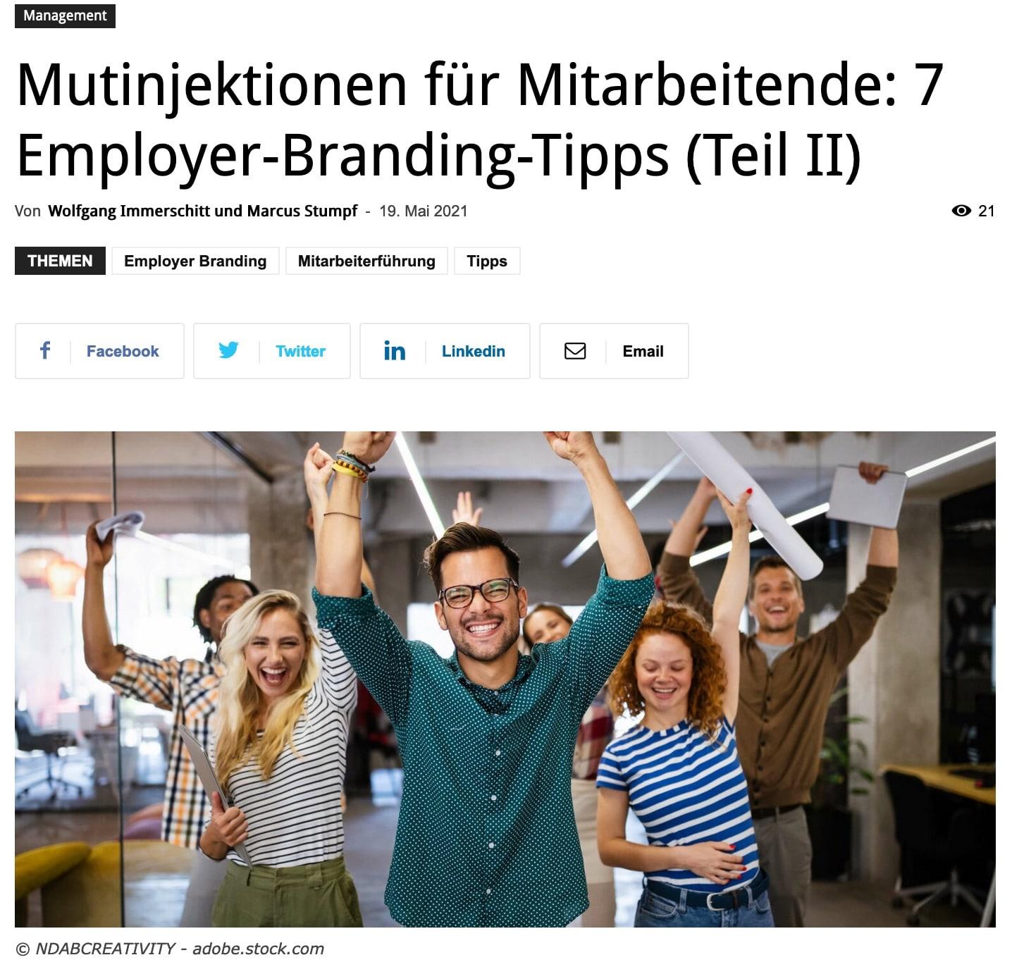 Mutinjektionen für Mitarbeitende: 7 Employer-Branding-Tipps (Teil2)